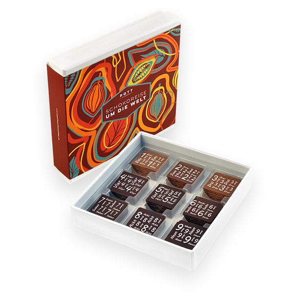 Eine Schokoladenreise um die Welt. Mit handgemachten Täfelchen feinster Kakaosorten aus aller Welt.