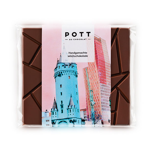 Handgemachte Milch-Schokolade mit einem Bild des Eschenheim Turms in Frankfurt. Perfekt als Mitbringsel oder Geschenk.